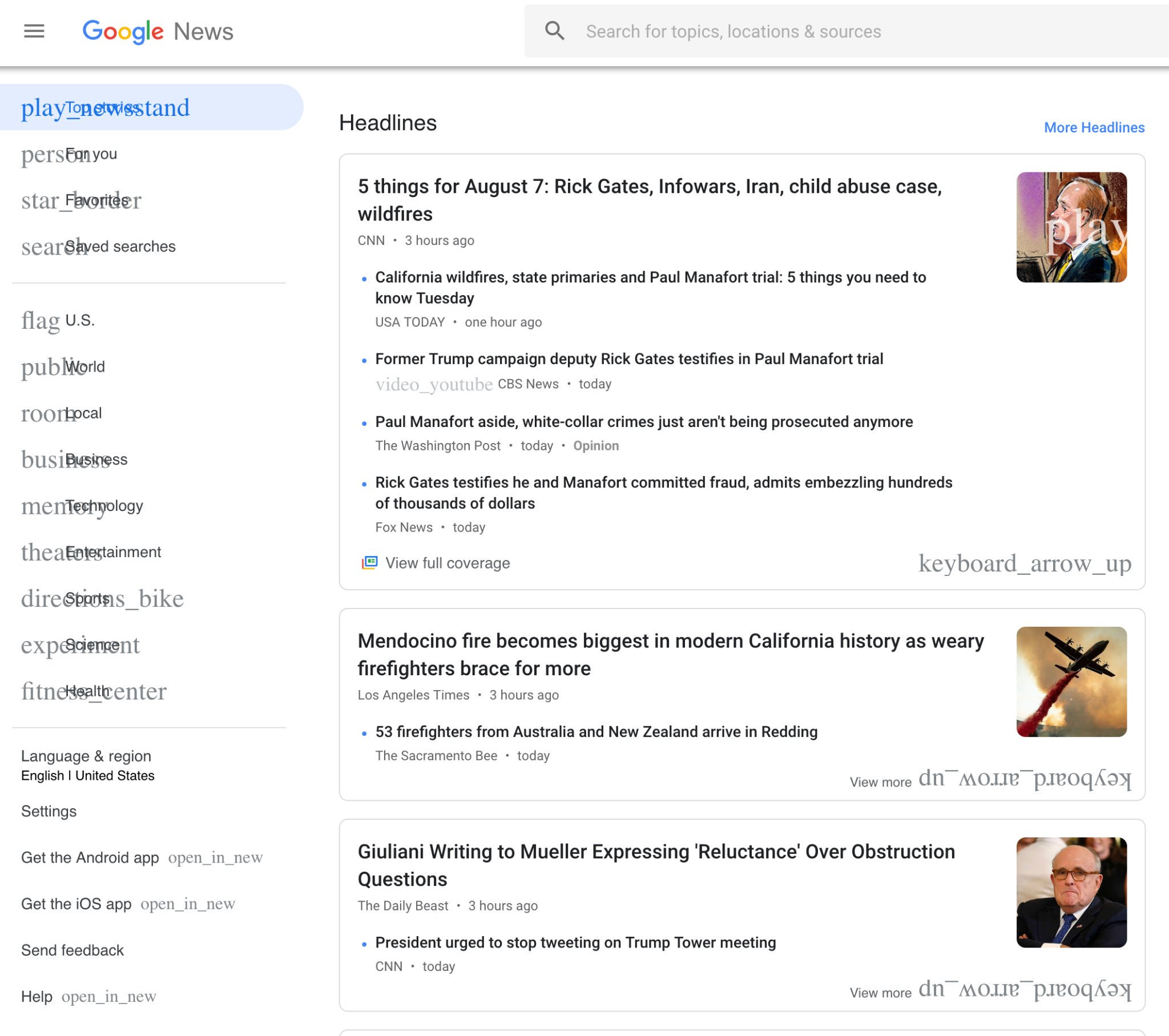 Screenshot of the Ligature icon fallback of Google News (showing overlapping text with content)